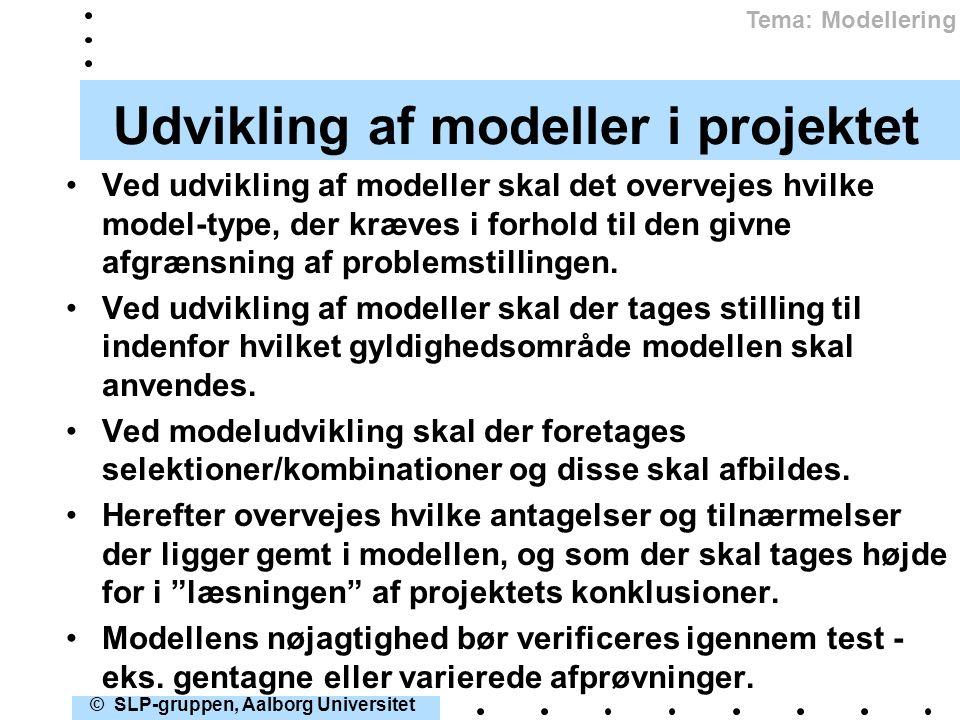 Udvikling af modeller i projektet