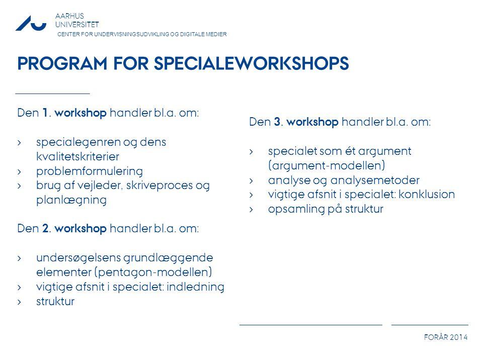 Program for specialeworkshops