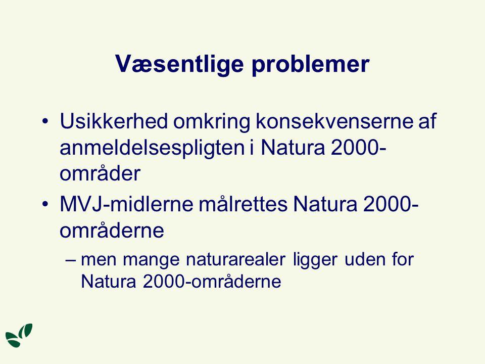 Væsentlige problemer Usikkerhed omkring konsekvenserne af anmeldelsespligten i Natura 2000-områder.