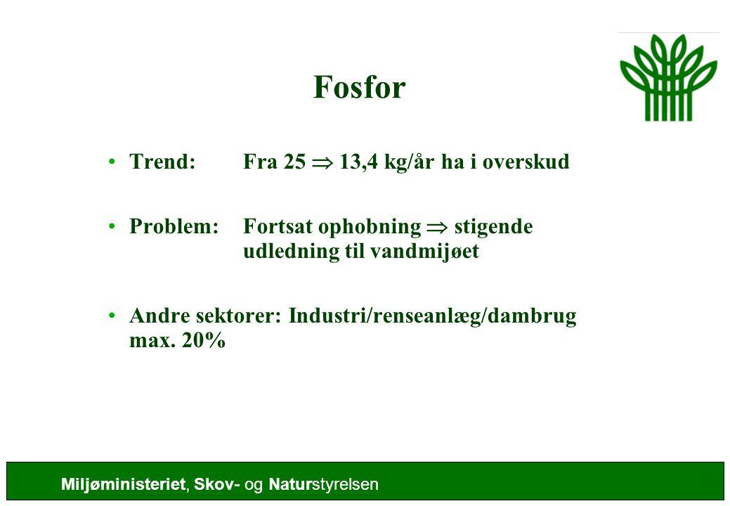 Fosfor Trend: Fra 25  13,4 kg/år ha i overskud