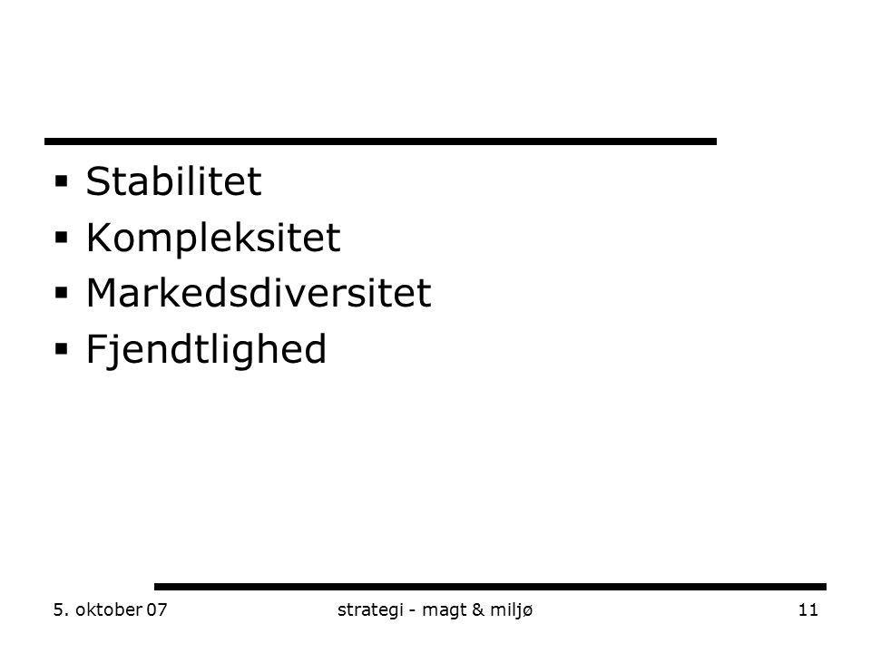 Stabilitet Kompleksitet Markedsdiversitet Fjendtlighed 5. oktober 07