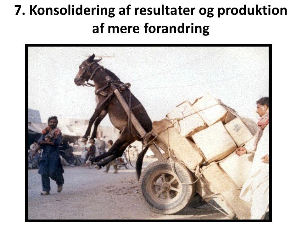 7. Konsolidering af resultater og produktion af mere forandring