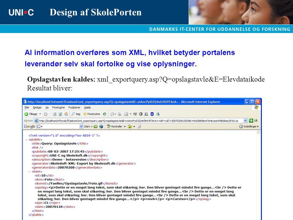 Al information overføres som XML, hvilket betyder portalens leverandør selv skal fortolke og vise oplysninger.
