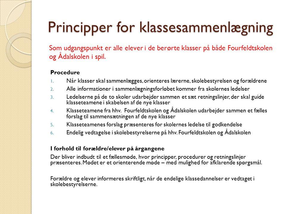 Principper for klassesammenlægning