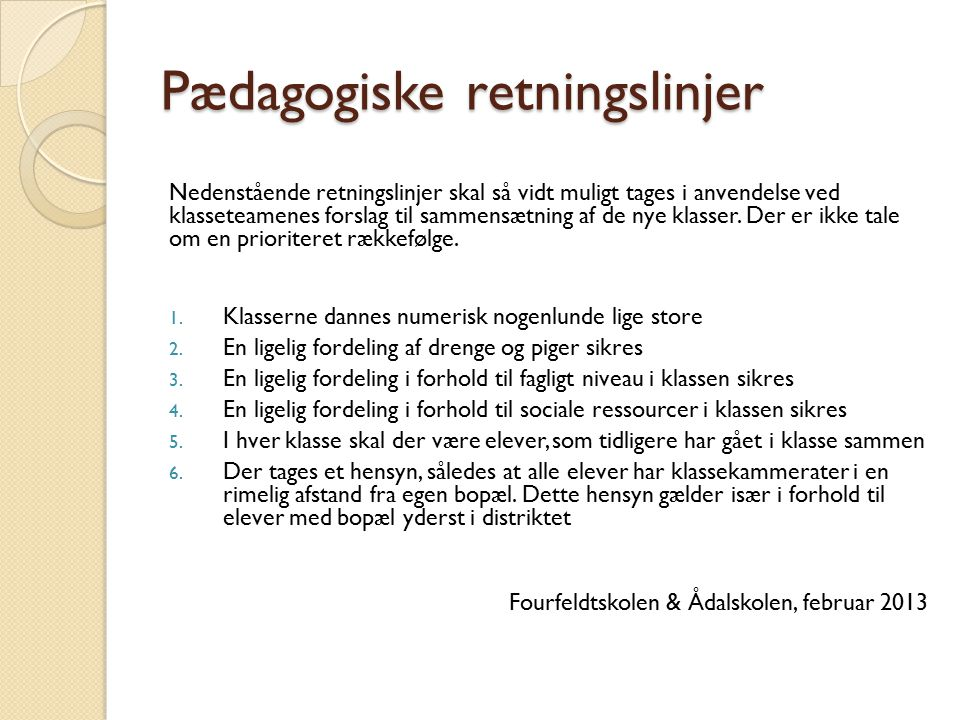Pædagogiske retningslinjer