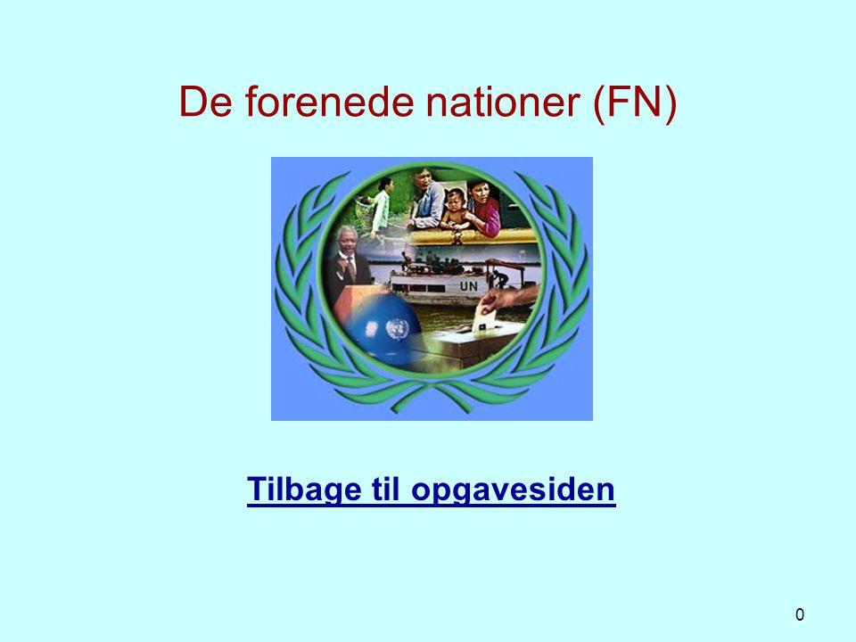 FN-systemet FN blev oprettet 24. Oktober 1945 (51 medlemslande)