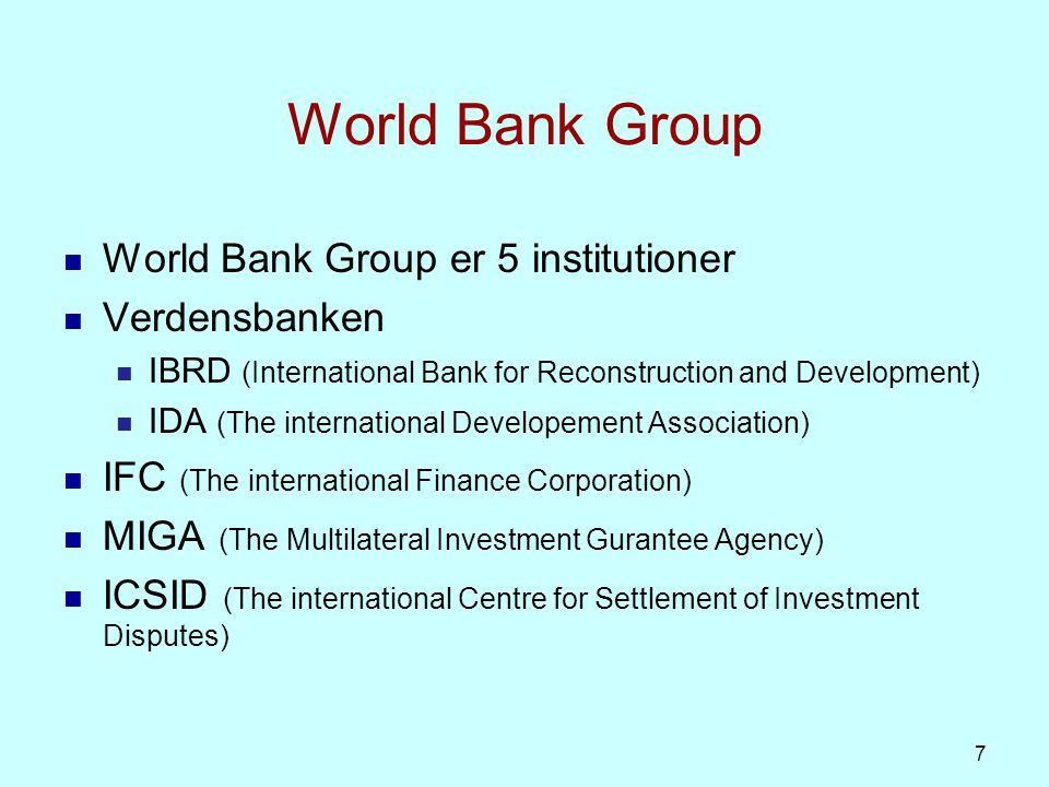 Verdensbanken IBRD udlåner på markedsvilkår