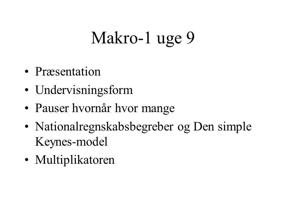 Makro-1 uge 9 Præsentation Undervisningsform Pauser hvornår hvor mange