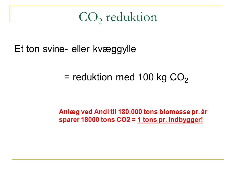 CO2 reduktion Et ton svine- eller kvæggylle = reduktion med 100 kg CO2