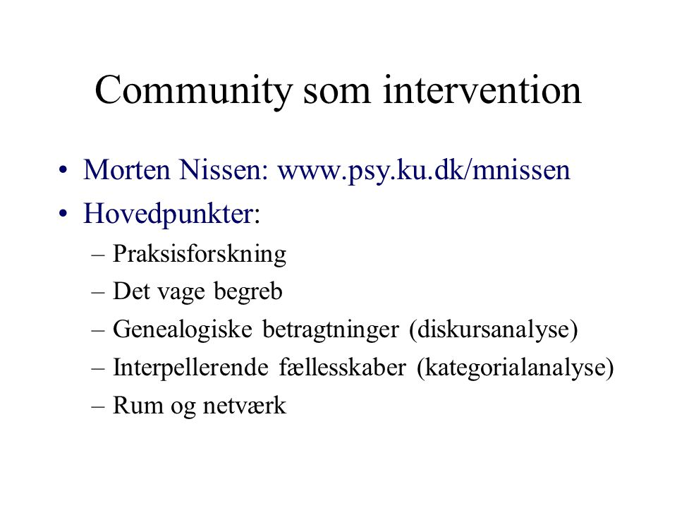 Community som intervention