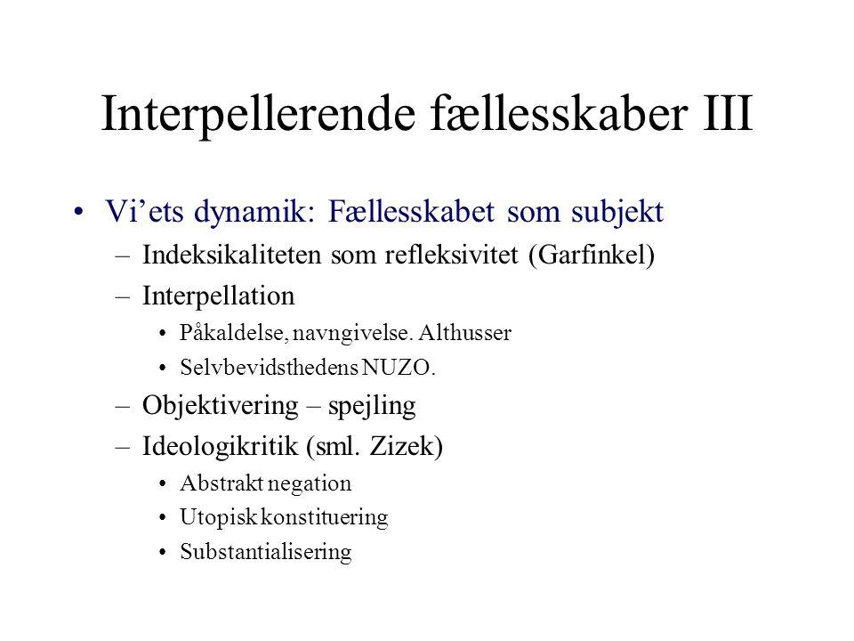Interpellerende fællesskaber III