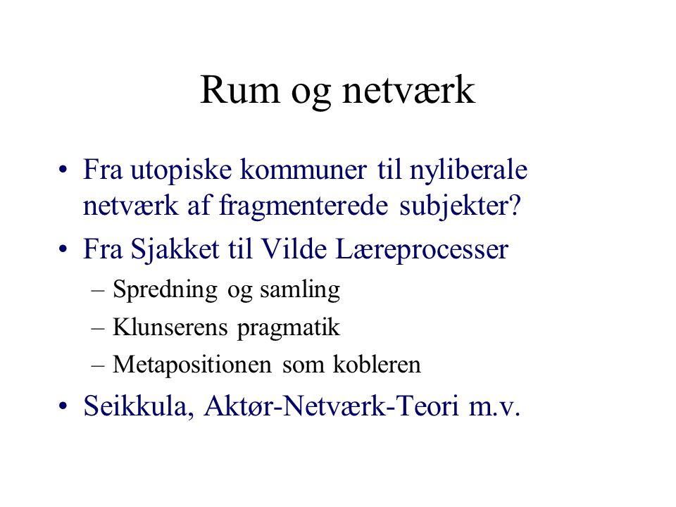 Rum og netværk Fra utopiske kommuner til nyliberale netværk af fragmenterede subjekter Fra Sjakket til Vilde Læreprocesser.