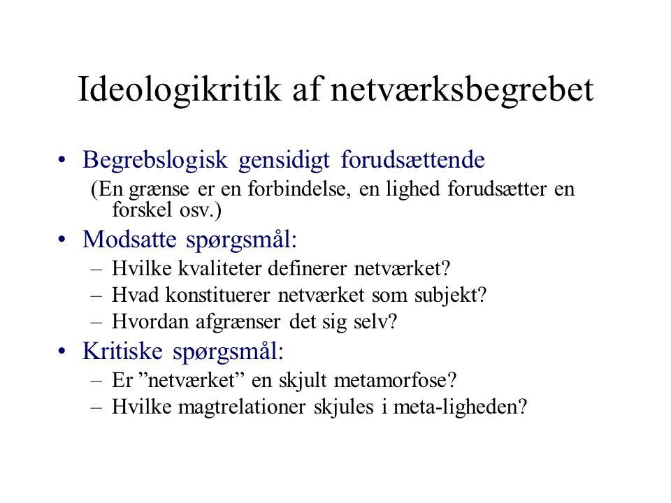 Ideologikritik af netværksbegrebet