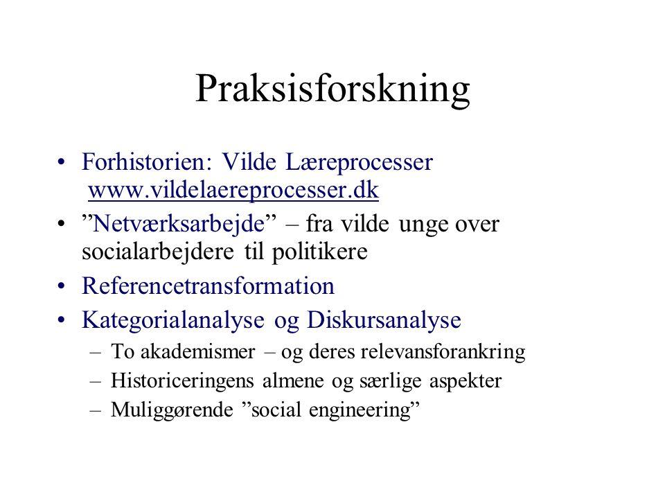 Praksisforskning Forhistorien: Vilde Læreprocesser www.vildelaereprocesser.dk.