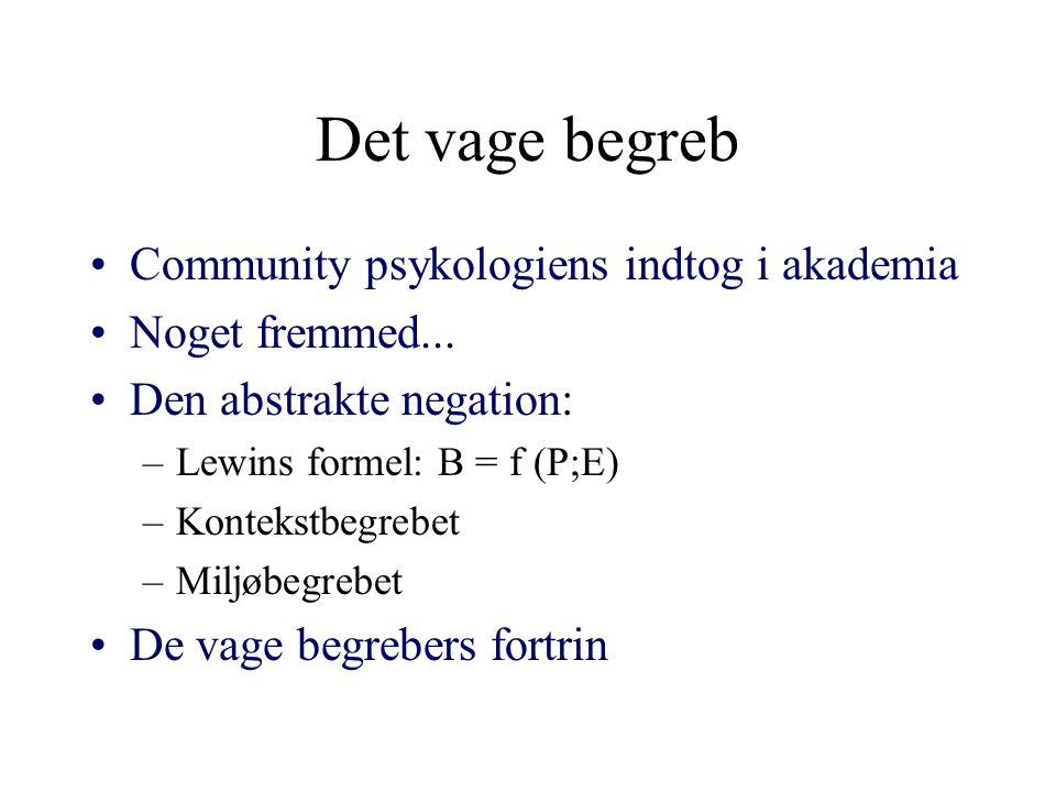 Det vage begreb Community psykologiens indtog i akademia