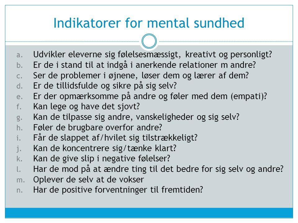 Indikatorer for mental sundhed
