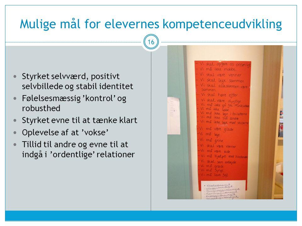 Mulige mål for elevernes kompetenceudvikling