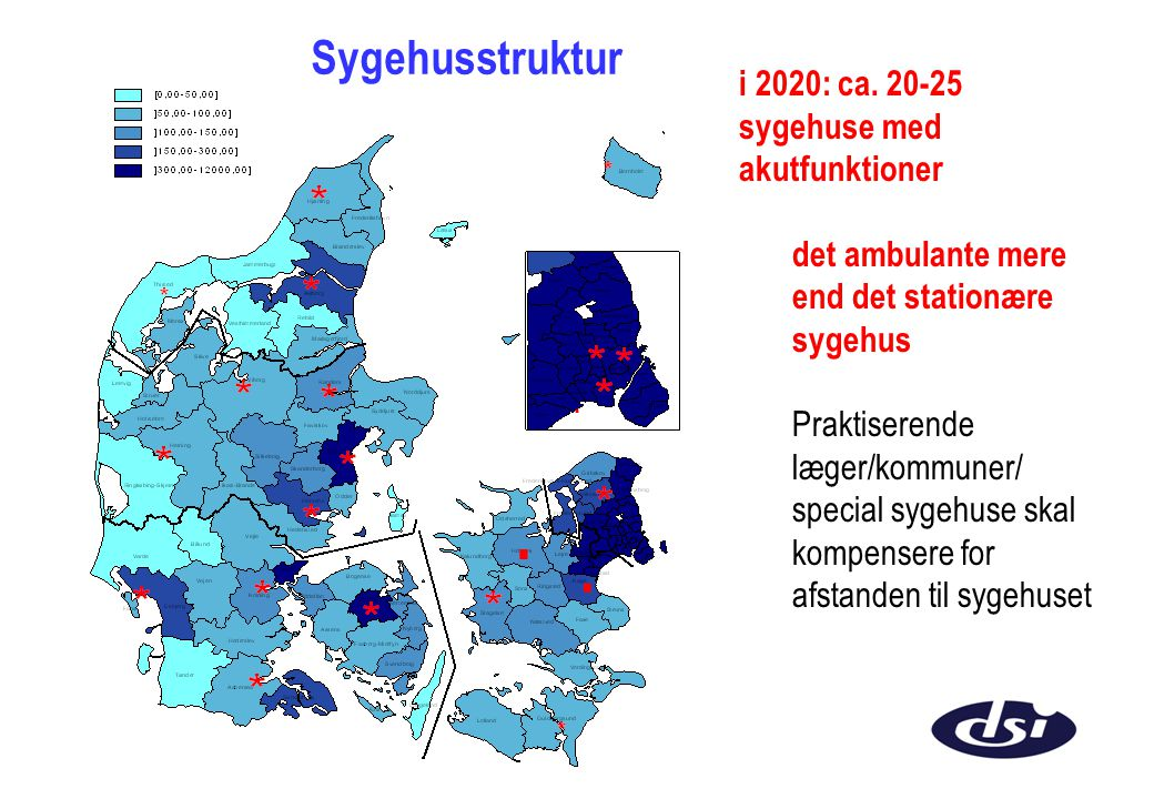 . . Sygehusstruktur i 2020: ca. 20-25 sygehuse med akutfunktioner