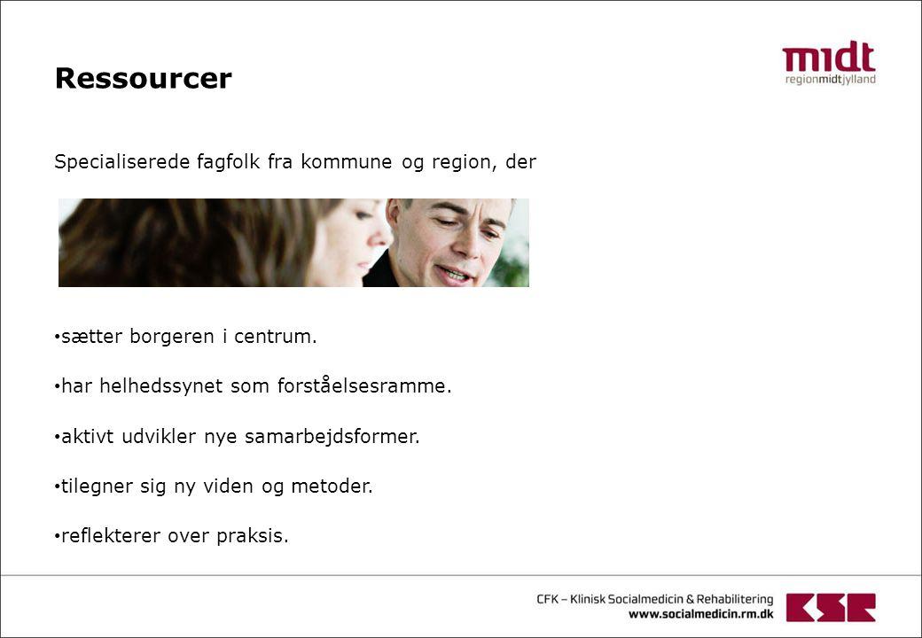 Ressourcer Specialiserede fagfolk fra kommune og region, der