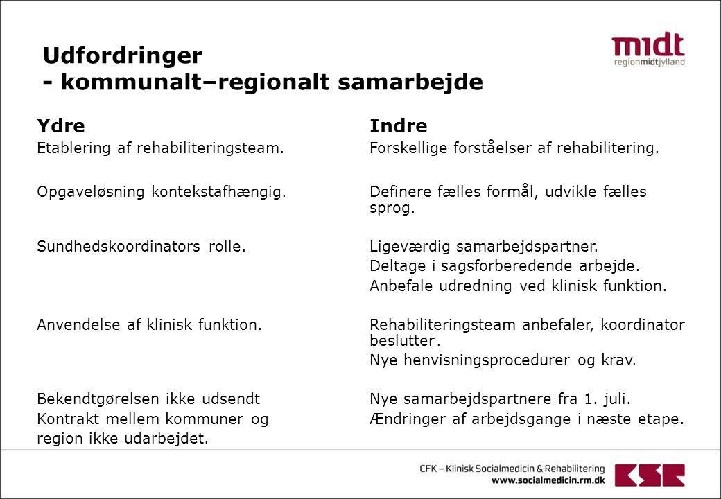 Udfordringer - kommunalt–regionalt samarbejde