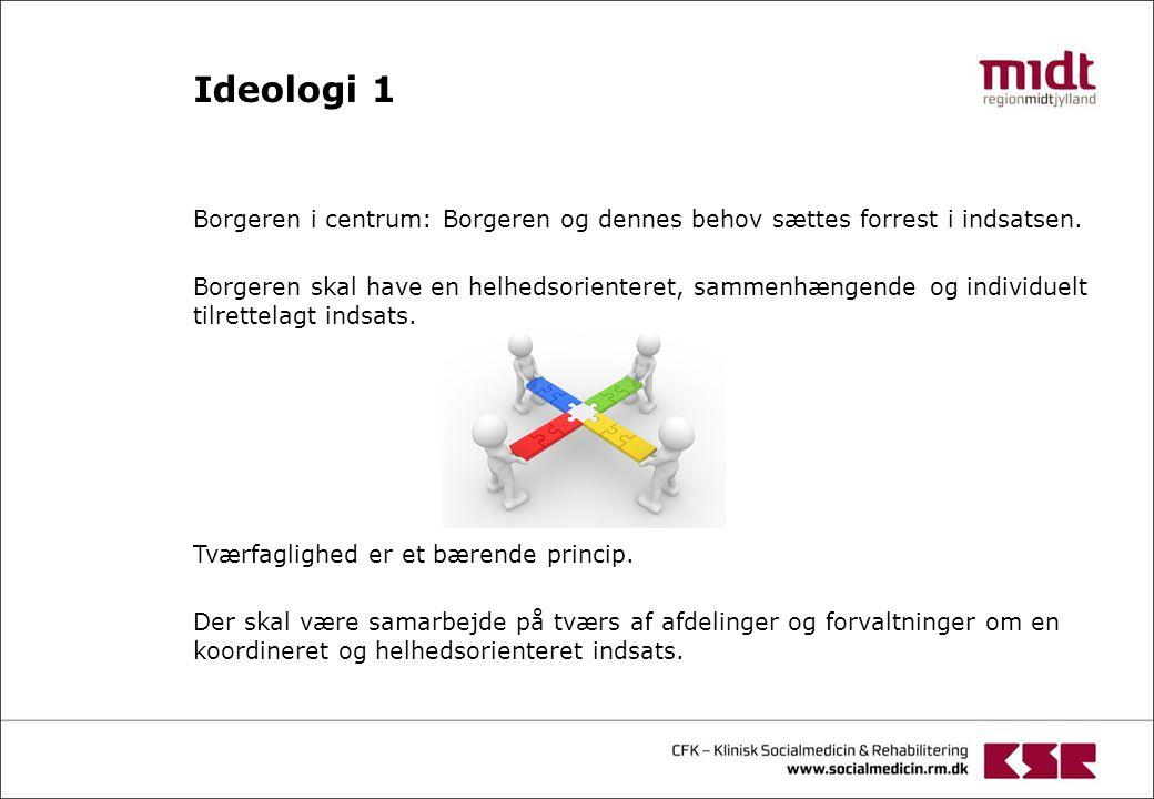 Ideologi 1 Borgeren i centrum: Borgeren og dennes behov sættes forrest i indsatsen.
