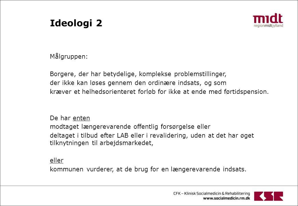 Ideologi 2 Målgruppen: Borgere, der har betydelige, komplekse problemstillinger, der ikke kan løses gennem den ordinære indsats, og som.