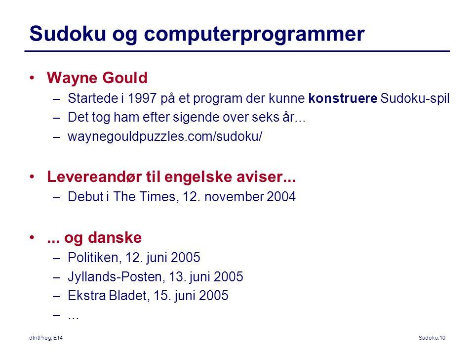 Sudoku og computerprogrammer