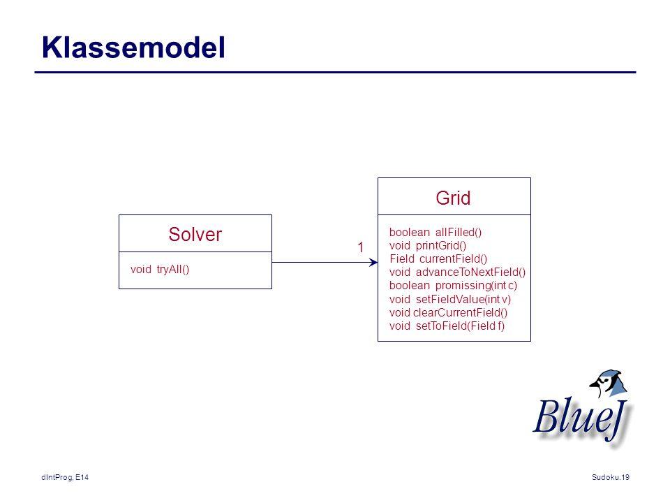 Klassemodel Grid Solver 1 boolean allFilled() void printGrid()