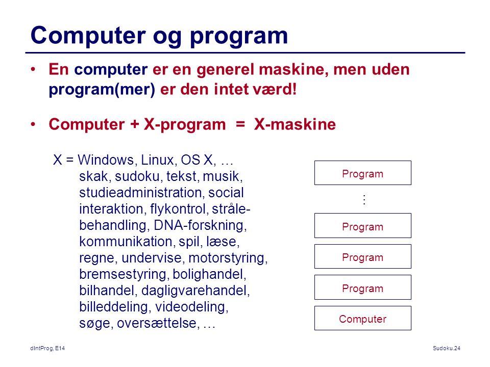 Computer og program En computer er en generel maskine, men uden program(mer) er den intet værd! Computer + X-program = X-maskine.