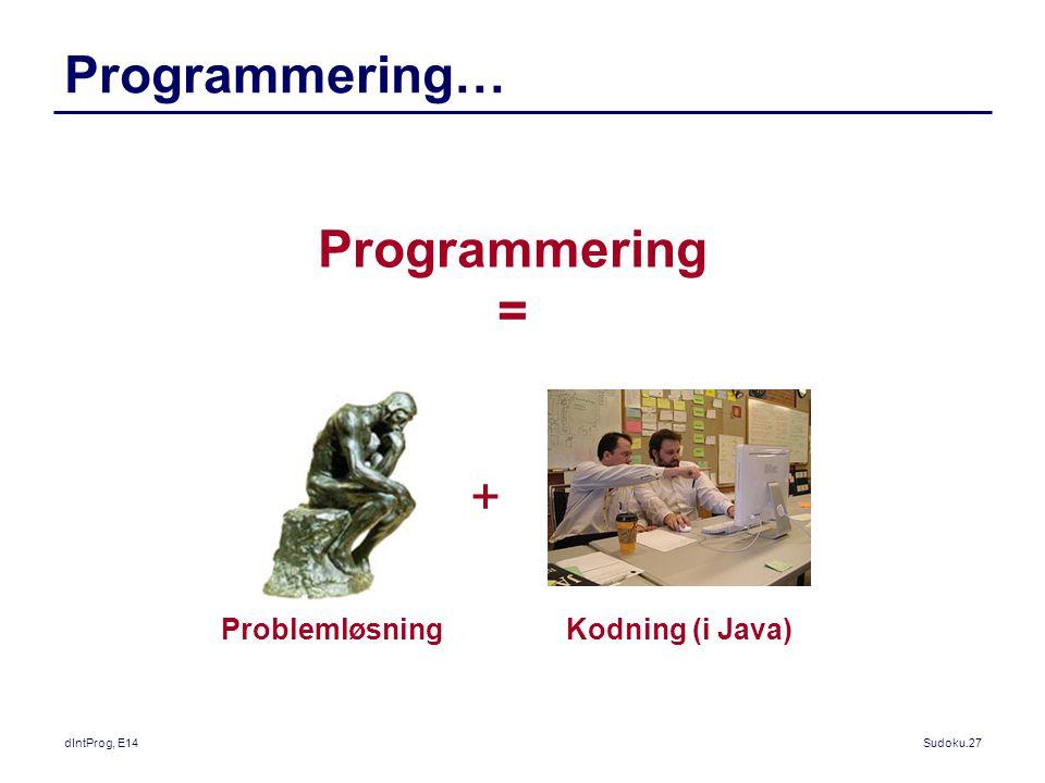 Programmering… Programmering = + Problemløsning Kodning (i Java)
