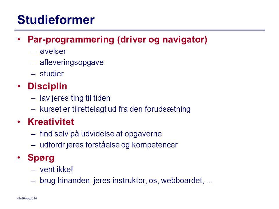Studieformer Par-programmering (driver og navigator) Disciplin