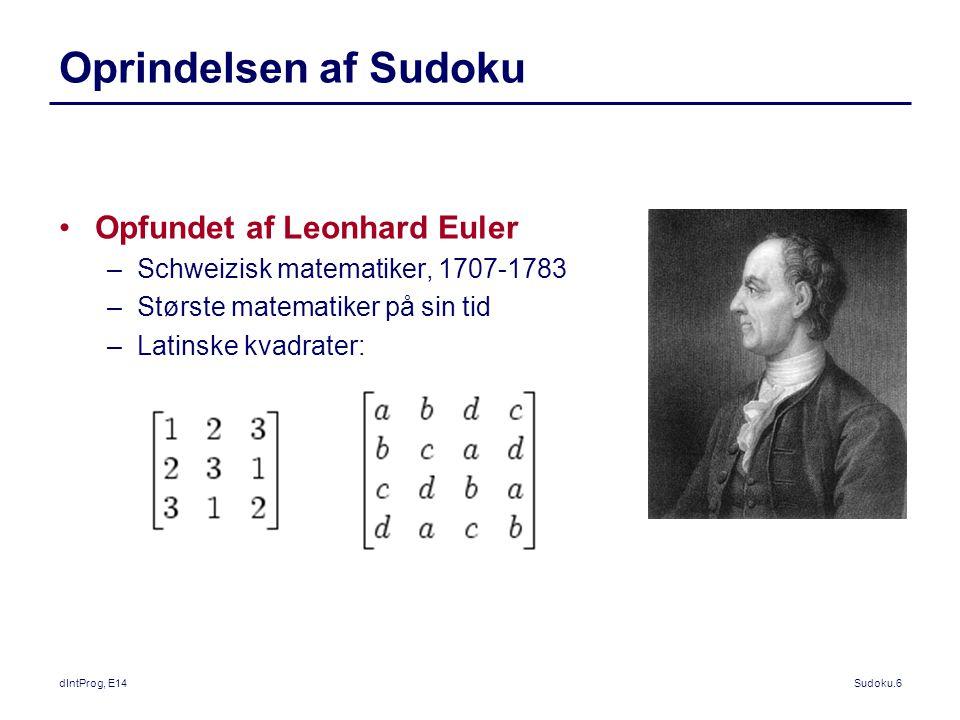 Oprindelsen af Sudoku Opfundet af Leonhard Euler