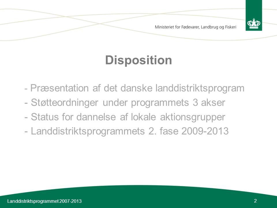 Disposition Støtteordninger under programmets 3 akser
