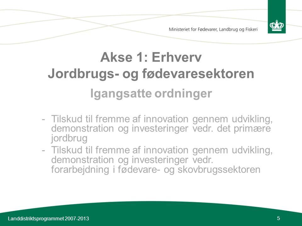 Akse 1: Erhverv Jordbrugs- og fødevaresektoren