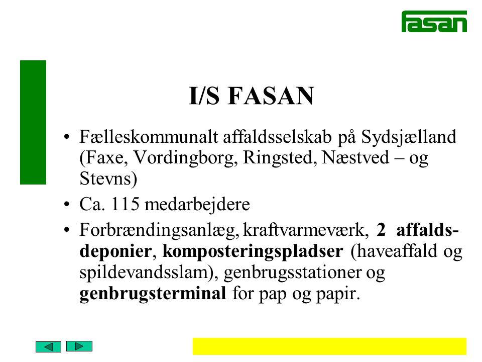 I/S FASAN Fælleskommunalt affaldsselskab på Sydsjælland (Faxe, Vordingborg, Ringsted, Næstved – og Stevns)