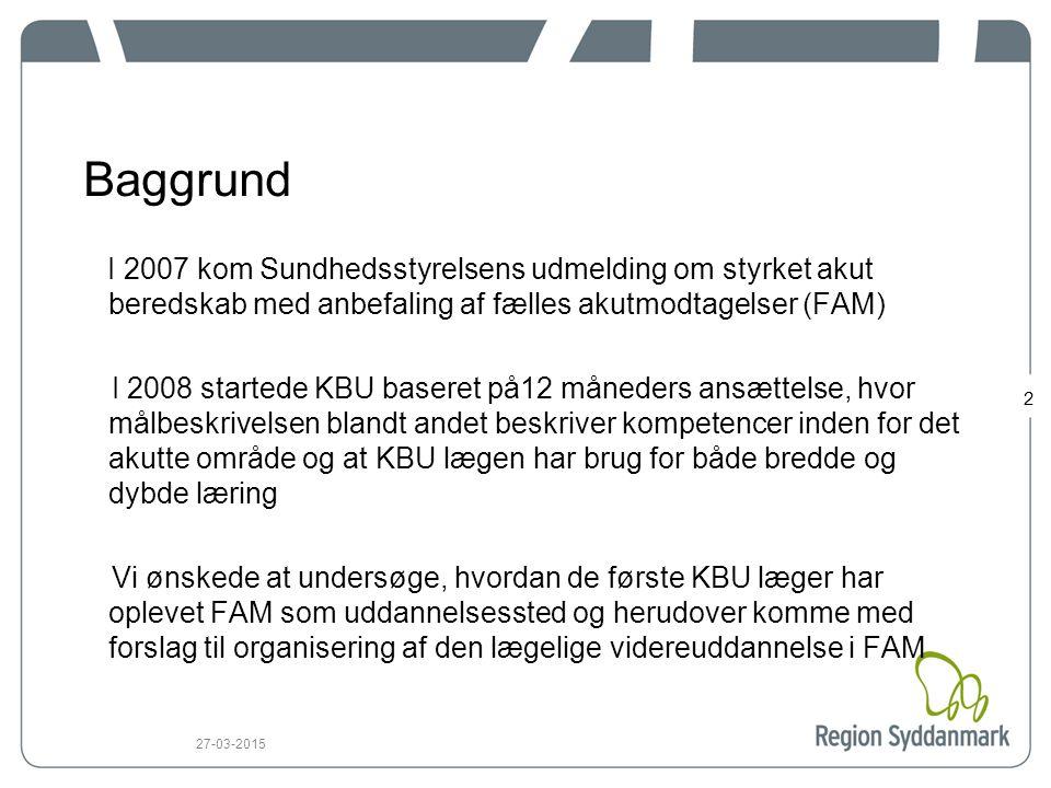 Baggrund I 2007 kom Sundhedsstyrelsens udmelding om styrket akut beredskab med anbefaling af fælles akutmodtagelser (FAM)