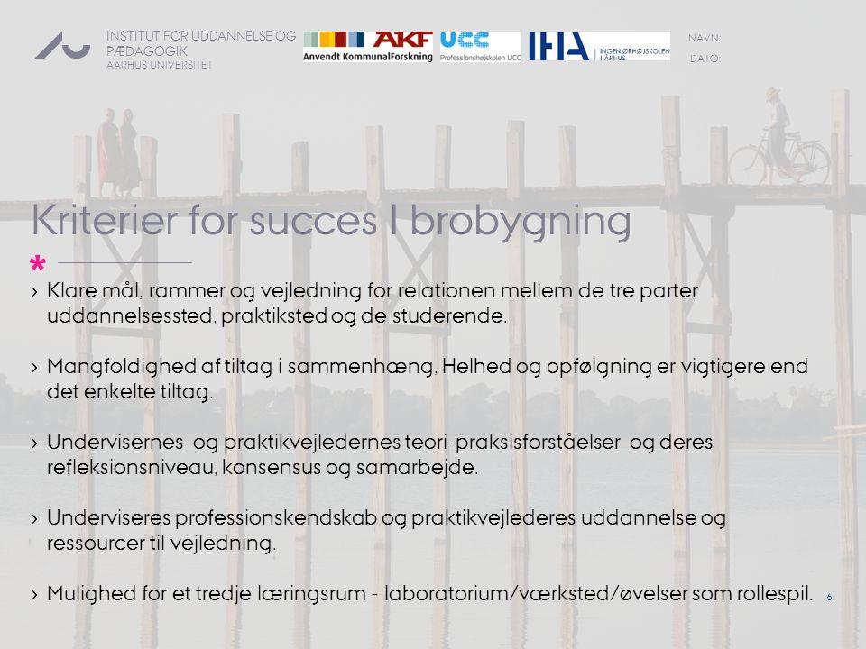 Kriterier for succes I brobygning