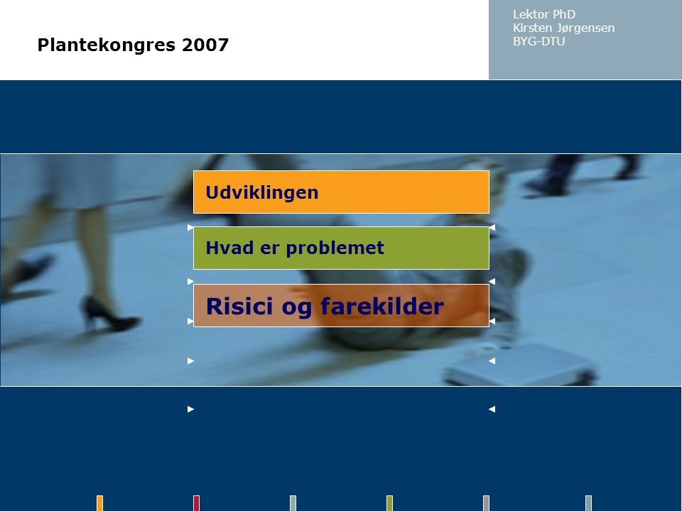 Risici og farekilder Plantekongres 2007 Udviklingen Hvad er problemet
