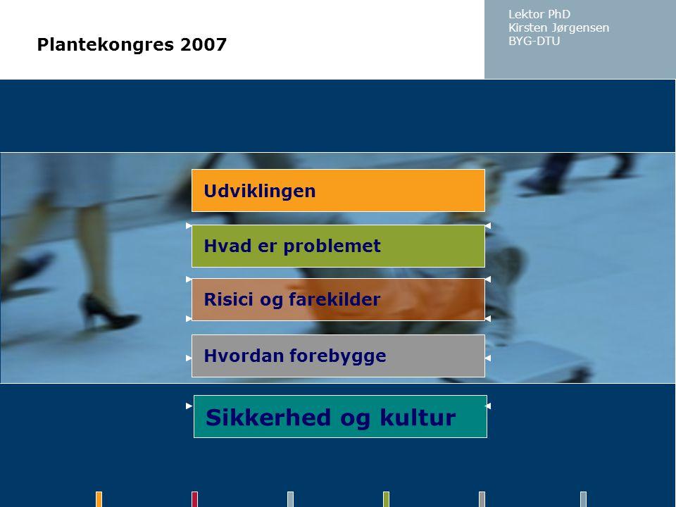 Sikkerhed og kultur Plantekongres 2007 Udviklingen Hvad er problemet