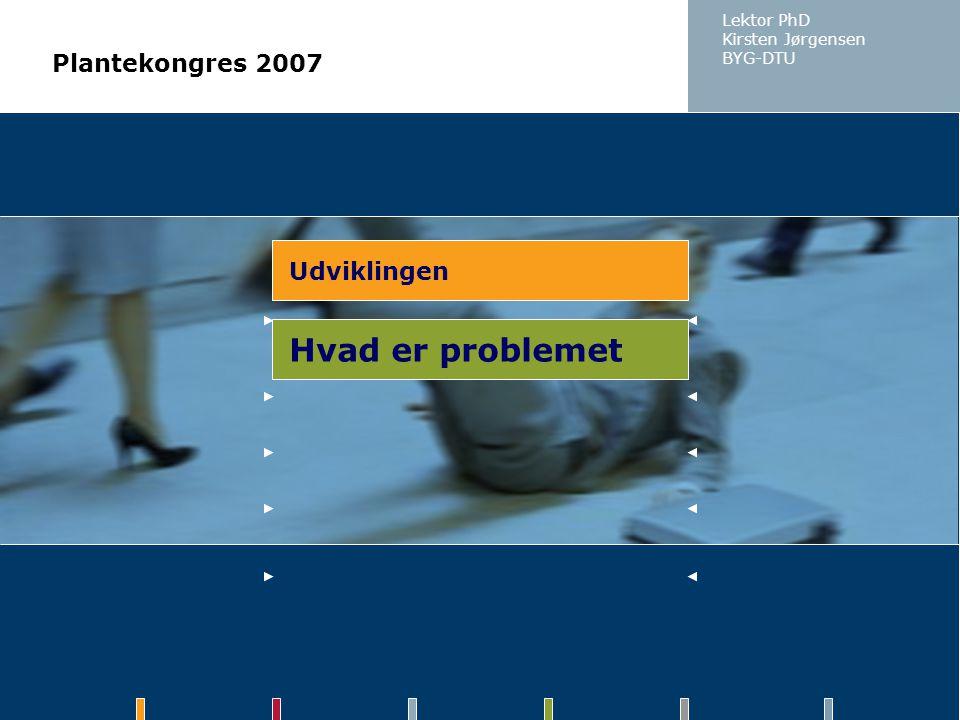 Hvad er problemet Plantekongres 2007 Udviklingen Lektor PhD