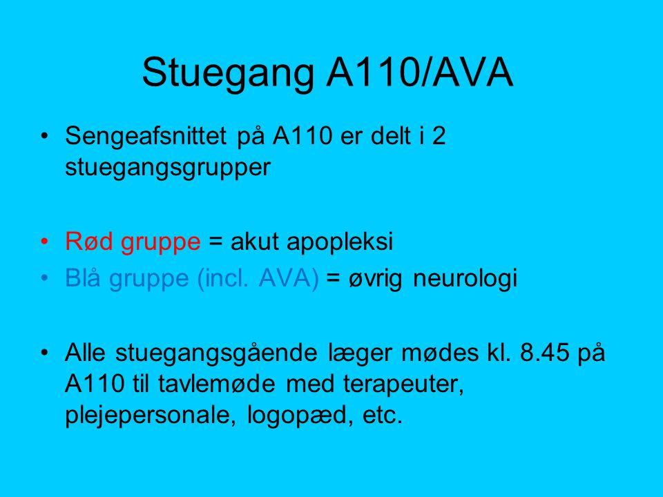 Stuegang A110/AVA Sengeafsnittet på A110 er delt i 2 stuegangsgrupper