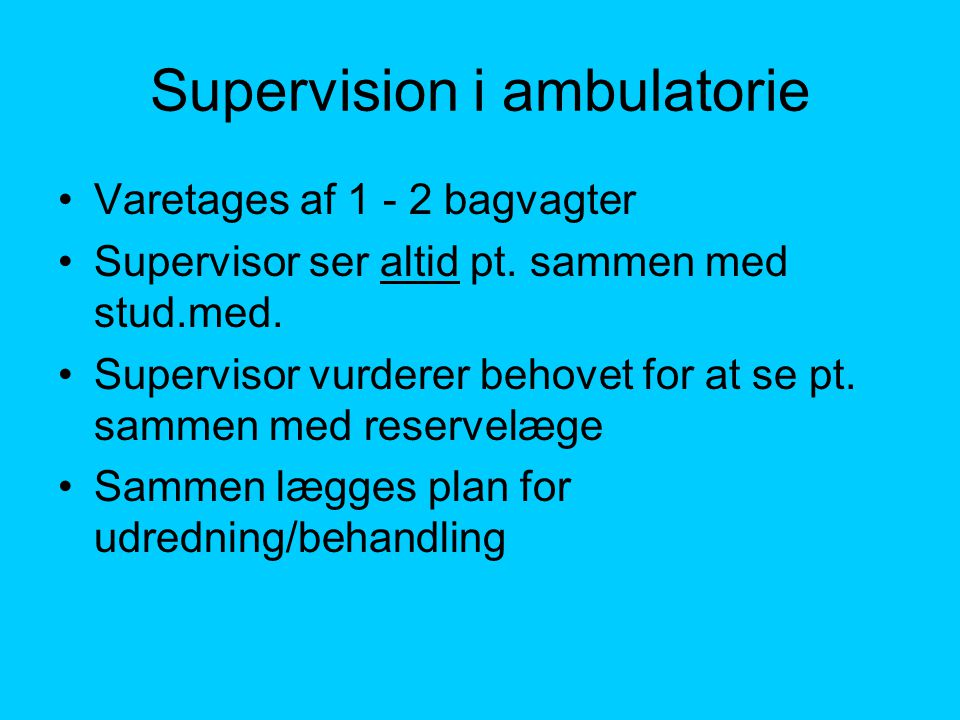 Supervision i ambulatorie