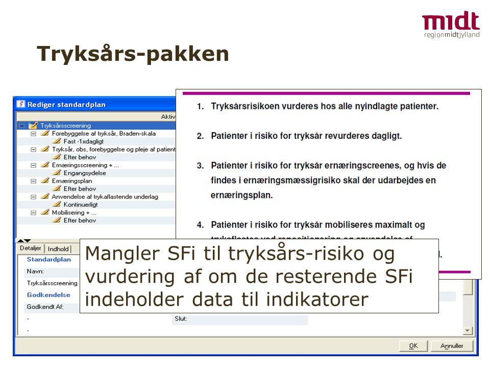 Tryksårs-pakken Mangler SFi til tryksårs-risiko og vurdering af om de resterende SFi indeholder data til indikatorer.