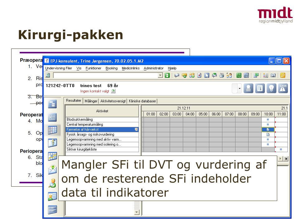 Kirurgi-pakken Mangler SFi til DVT og vurdering af om de resterende SFi indeholder data til indikatorer.