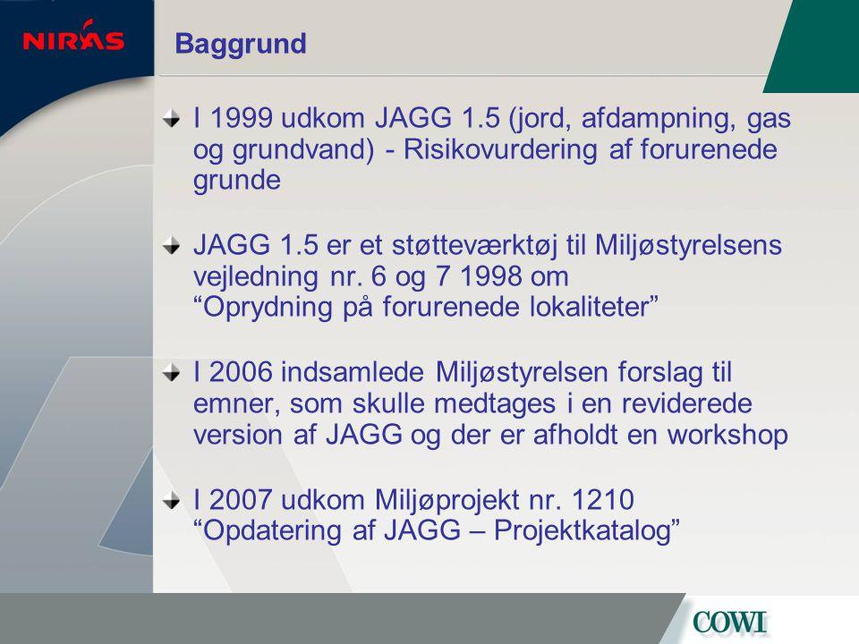 Baggrund I 1999 udkom JAGG 1.5 (jord, afdampning, gas og grundvand) - Risikovurdering af forurenede grunde.