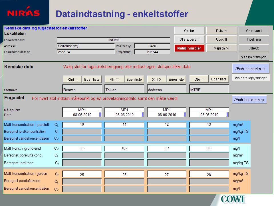 Dataindtastning - enkeltstoffer
