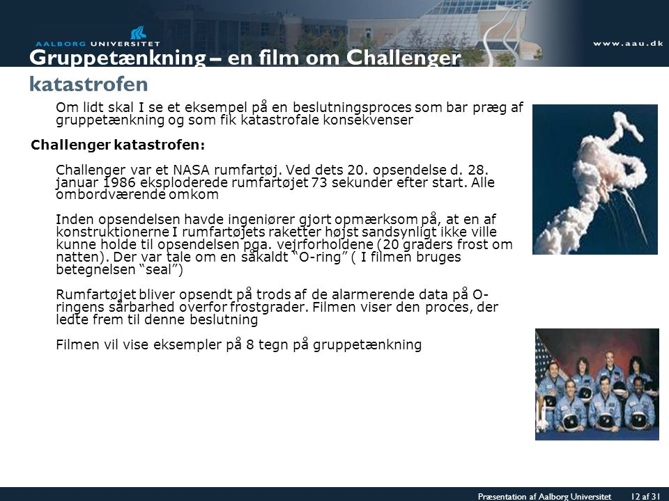 Gruppetænkning – en film om Challenger katastrofen