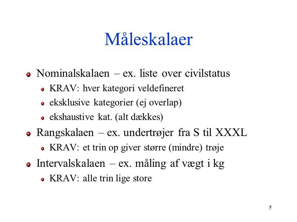 Måleskalaer Nominalskalaen – ex. liste over civilstatus