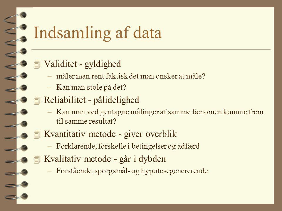 Indsamling af data Validitet - gyldighed Reliabilitet - pålidelighed