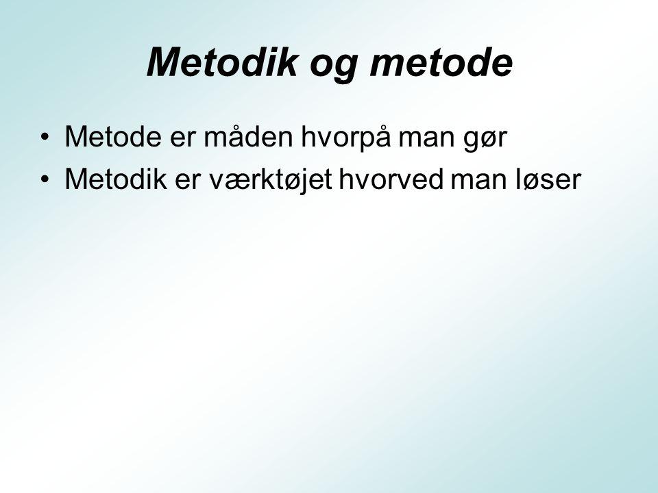 Metodik og metode Metode er måden hvorpå man gør